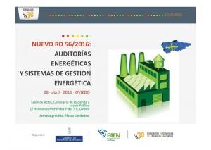 Jornadas RD 56/2016 organizadas por el Gobierno de Asturias, A3E y FAEN